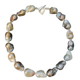 Oversized Pastel Colored  Baroque Pearl Necklace with Diamond