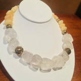 Rock Crystal and Yellow Jade Energy Necklace