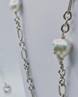 Long Sterling Silver Cable Chain and Baroque Pearl Necklace - Made to Order