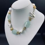 Aquamarine, Baroque Pearl Statement Piece  w/ earrings