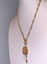 Gold Dipped Organic Druzy with Paper Clip style Chain - Rose Quartz - Holiday Price!