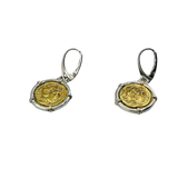 Roman Coin Earrings - silver frame & wires