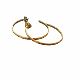 Gold Vermeil Bamboo -Etched Hoops -Regular