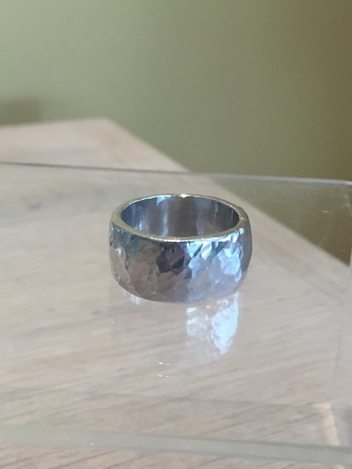 Mens or Ladies Chunky Hammered Silver Band