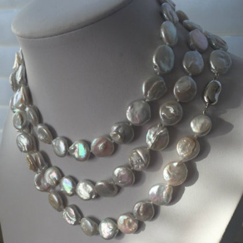 """White """"Super Long"""" Coin Pearl Necklace & Earring Gift Set (48"""")"""