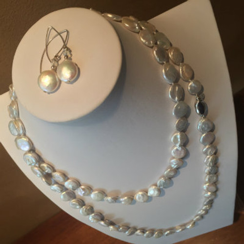 "White ""Super Long"" Coin Pearl Necklace & Earring Gift Set (48"")"