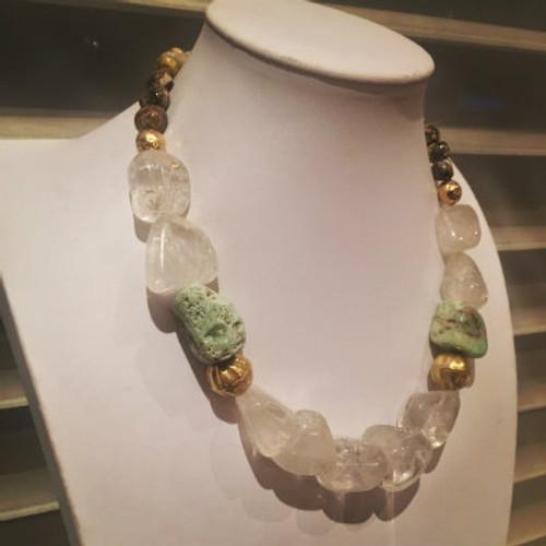 Rock Crystal & Chrysoprase Energy Necklace
