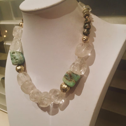Rock Crystal & Chrysoprase Energy Necklace
