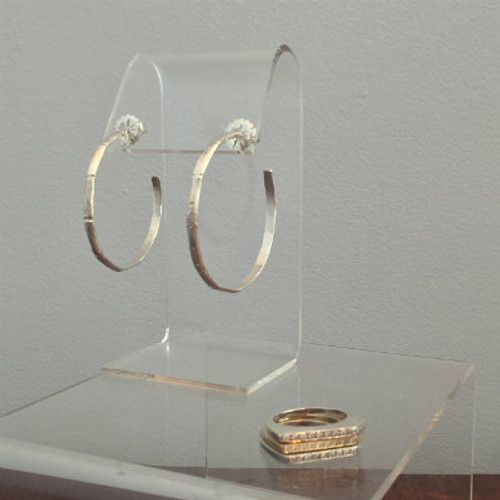 Silver Bamboo Design Hoop Earrings (Thick)- 2""