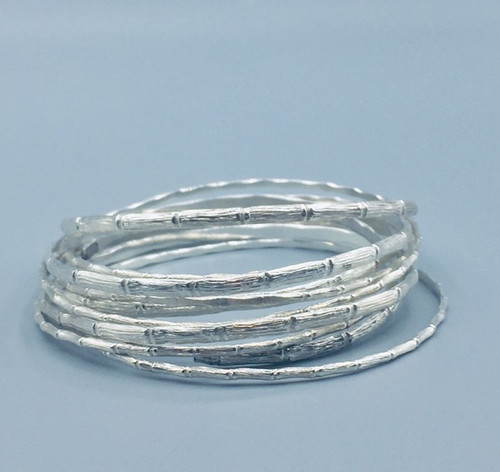 Sterling Silver Skinny Bamboo Bangles (set of 10)