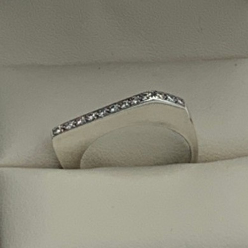 .925 Sterling Silver Diamond Geometric Statement Ring