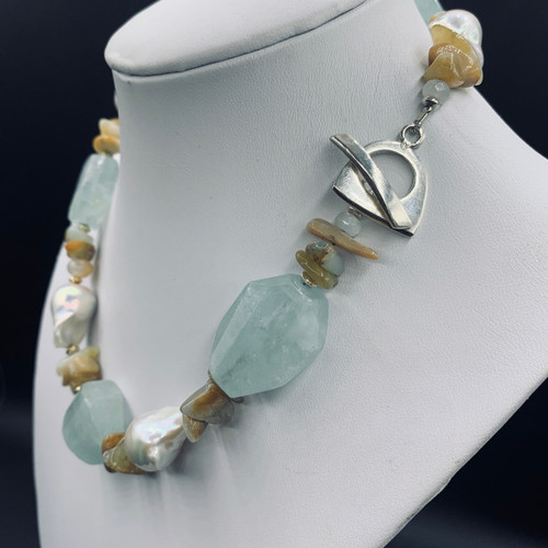 Aquamarine, Baroque Pearl Statement Piece  w/ earrings