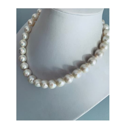 Large White Baroque Pearl Necklace with Earrings, Vermeil Clasp