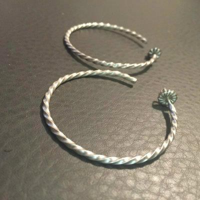 Hand Made Sterling Silver Twist Hoops (Slim)