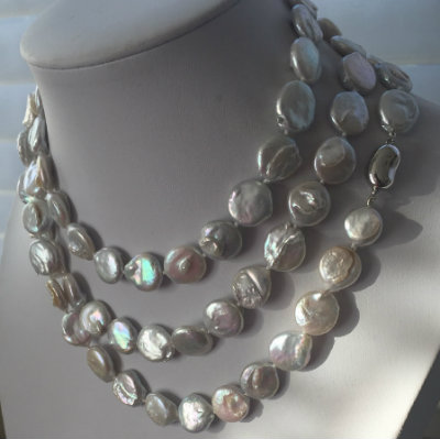 "White ""Super Long"" Coin Pearl Necklace & Earring Gift Set (42"")- Holiday Sale!"