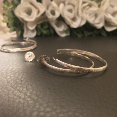"""Silver Bamboo Design Hoop Earrings (Thick)- 2"""""""