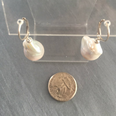Classic Baroque Pearl & Silver Leverback Earrings