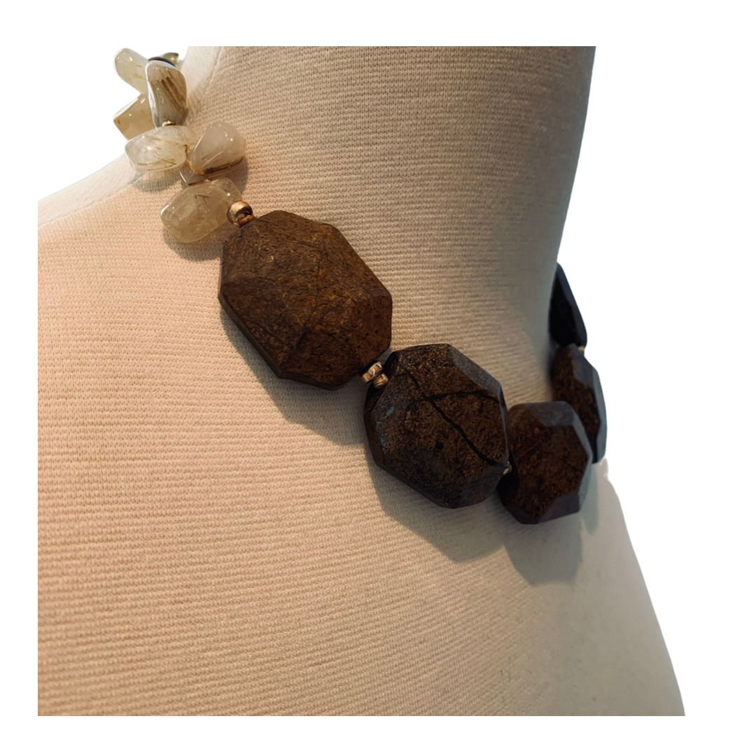 Bronzite and Rutilated Quartz Necklace