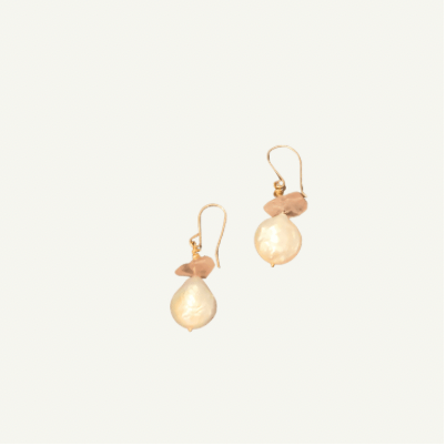 Coin Pearl and Rock Quartz Earrings
