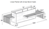 Linear Planter Bench: Shop drawing shown with two Ipe wood bench seats