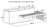 Linear Planter Bench: Shop drawing shown with one Ipe wood bench seat