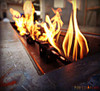 Rectangular Gas Fire Table: As shown Corten Steel with Perfect Flame Burner System