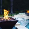 "Bobe square copper fire pot: 36"" copper patina with the Perfect Flame Burner system."