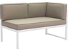Golden Beach Chaise RHF: As shown with bright white galvanized aluminum frame and taupe cushions. (angled view)