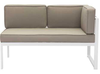 Golden Beach Chaise RHF: As shown with bright white galvanized aluminum frame and taupe cushions. (front view)