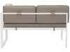 Golden Beach Chaise RHF: As shown with bright white galvanized aluminum frame and taupe cushions. (back view)
