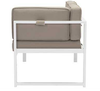 Golden Beach Chaise RHF: As shown with bright white galvanized aluminum frame and taupe cushions. ( side/back view)