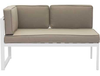 Golden Beach Chaise LHF: As shown in galvanized aluminum frame in a bright white with taupe cushions: (front view)
