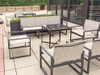 Homecrest Allure Silng Collection Product Photo Roof Top: As Shown Allure Sling Sofa and Chat Chairs in Alloy Fabric and Storm Aluminum Frames