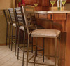 Homecrest Manhattan steel armless bar chairs in the cognac brown finish with padded seats.