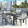 Allure Sling Stackable Armless chairs: Cameo Sling Fabric Carbon Grey Aluminum Frames.