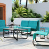 Homecrest Infiniti collection outdoor patio set: As shown sensation sling fabric Caribbean blue and Onxy black aluminum frame.