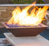 Bobe Copper Fire Pot: As shown hammered 100% copper fire pit with the Perfect Flame Burner system.