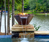 Bobe Builder Series Copper Water/Fire Pot Round: As shown in copper with the Original Lip scupper spillway and the Perfect Flame Burner.