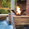 Bobe Water and Fire Flight Series Gas Torch; As shown square corten steel basket on a rock hardscape next to pool.