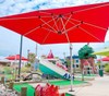 Homecrest Soren Square Cantilever Umbrella: As shown with the the Canvas Blush Red Sunbrella Fabric.