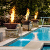 Seamless Lip - Bobe Water and Fire Feature: As shown in the smooth copper finish water spilling into pool below. Perfect Flame burner and Fenix electronic ignition.
