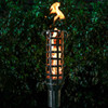 Option TT16 Box Weave Gas Tiki Torch by The Outdoor Plus: As shown with the Original Top Torch base with needle valve and the corten steel box weave outer.