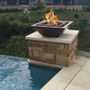 Maya Hammered Copper Water and fire feature: As shown on rock pedestal base next to pool.