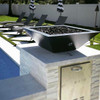 Maya Fire Pit Bowl by The Outdoor Plus: As shown in the black powder coated finish in the match lit option with optional key valve kit installed into its side.