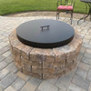 "Round Fire Pit Lid With 4"" Raised Sides: As shown Aluminum Fire Pit 4 inch height with stainless steel lift off  handle."