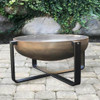 Fremont Wood Burning Fire Pit: Natural rust steel steel bowl with the black aluminum base.
