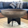 """Aspen Wood Burning Fire Bowl: As shown with the 36"""" bowl diameter in a raw un-rusted with the black aluminum base."""