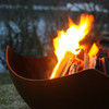 Wood Burning Manta Ray Fire Pit Art - Wood burning options natural rust carbon steel.