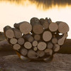 Steel Firewood Log Rack - As shown in a crescent shape