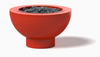 Gas Fire Pit Bowl: Shown Red Powder Coat Aluminum With Natural Gas Burner and Black Lava Rocks